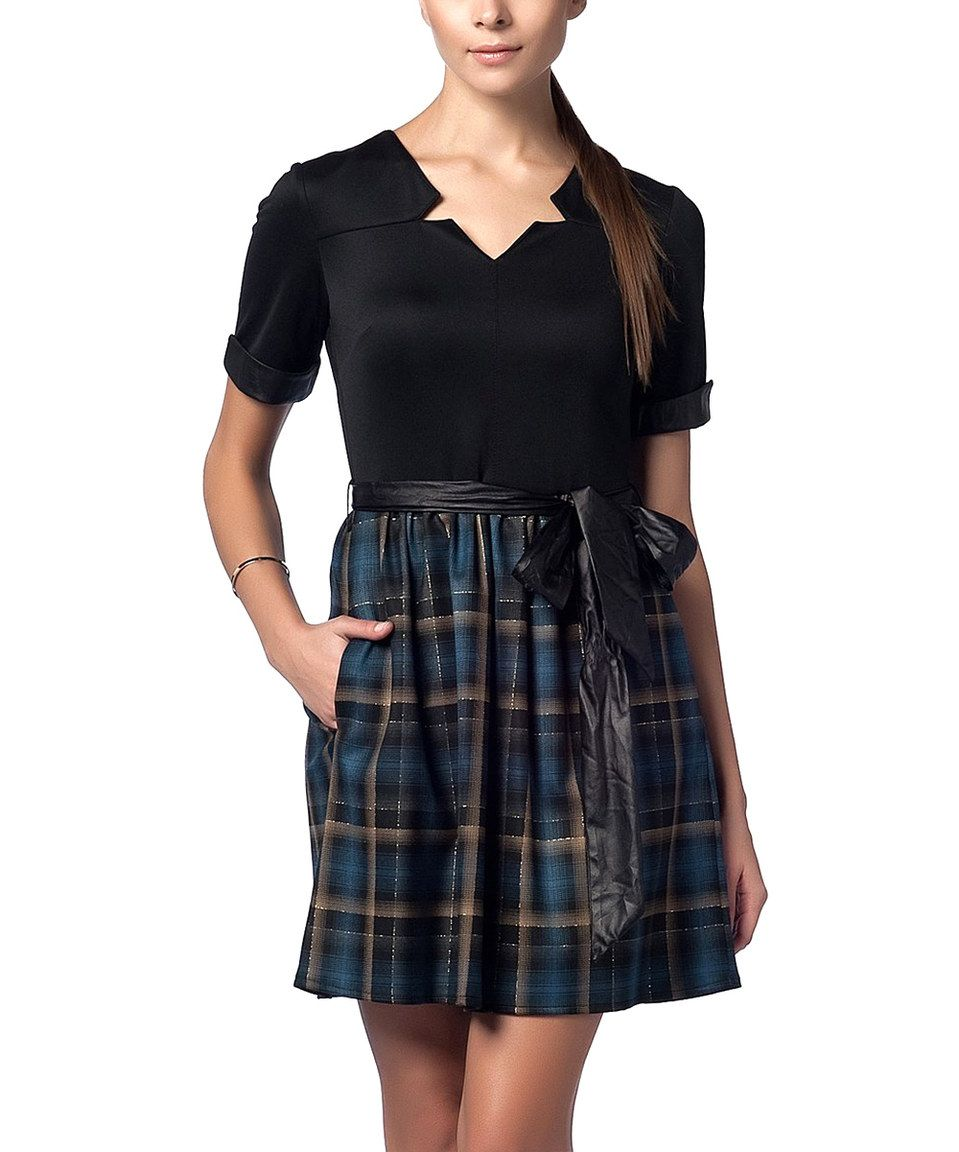 Look what I found on #zulily! Duse Black & Navy Plaid Sash Notch Neck Dress by Duse #zulilyfinds