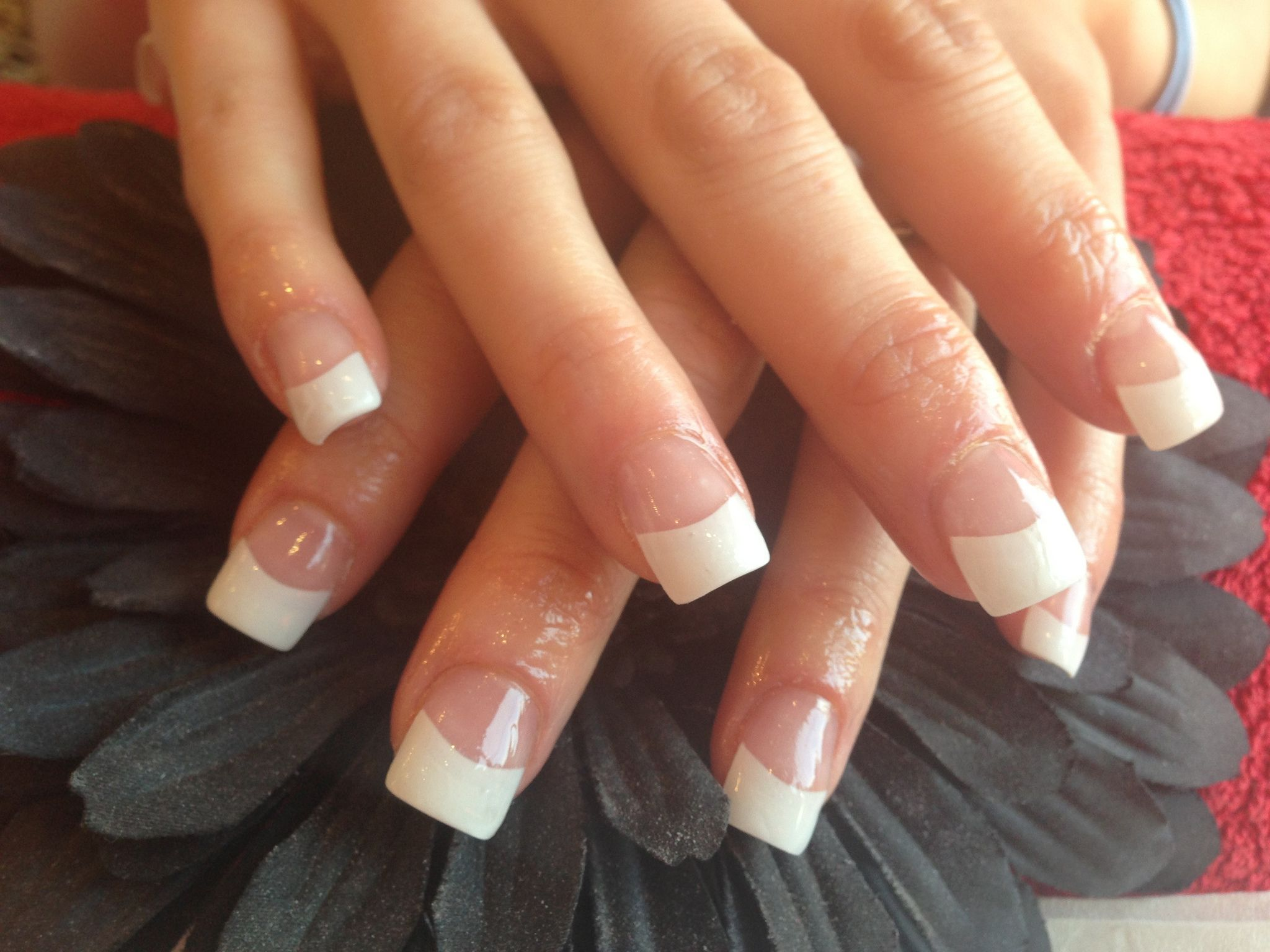 Full set of acrylic nails with white tips | Orange nail designs ...