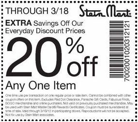 photograph about Stein Mart Printable Coupon titled Conserve an more 20% at Stein Mart! #coupon CheckPoints Specials