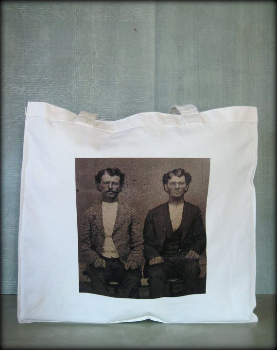 Tintype Tote  Seated Brothers by ScarlettSlipper on Etsy