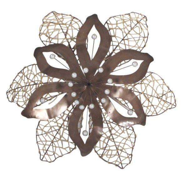 Metal wall art rustic flower burst from earth homewares