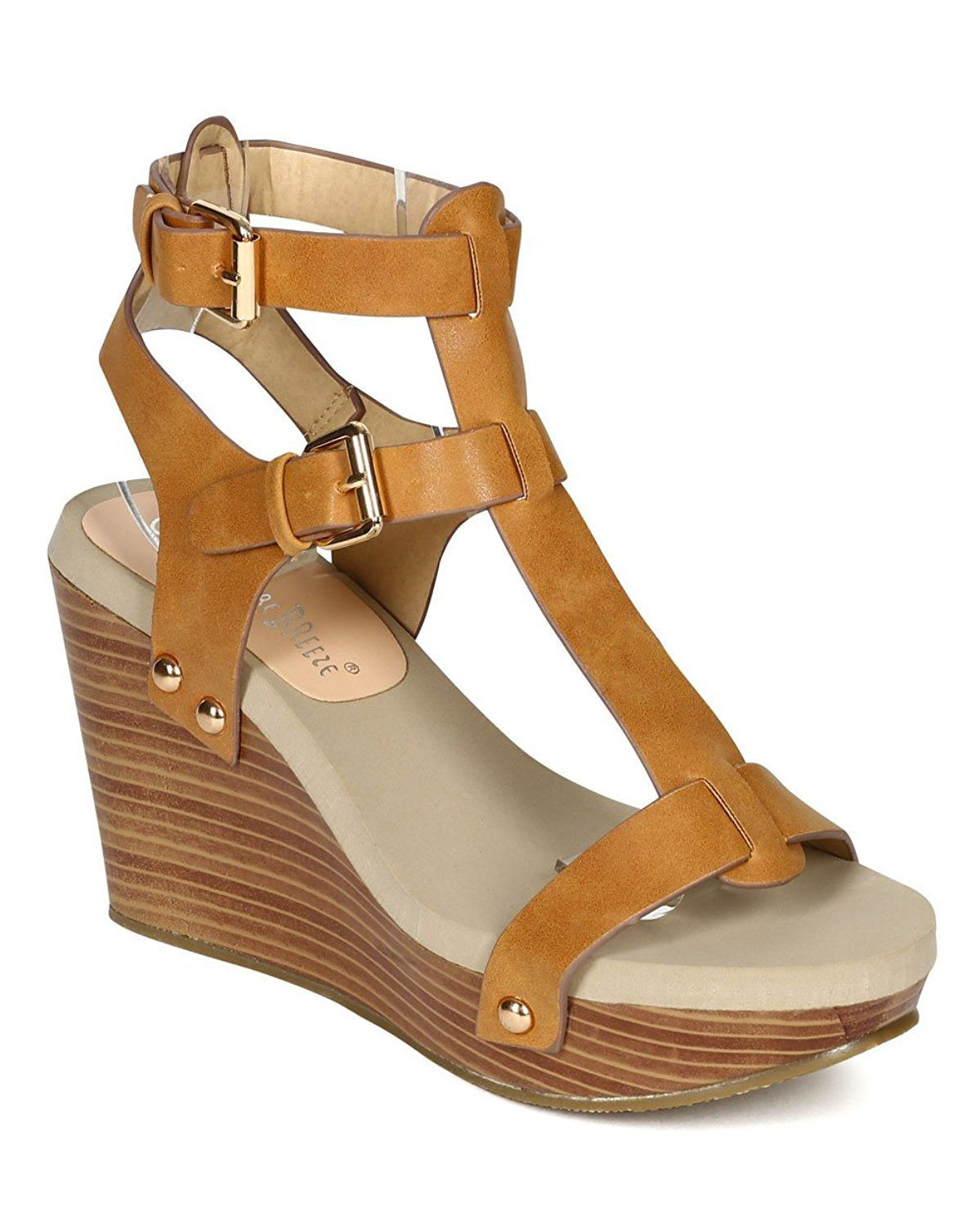 0806e8c1f890 Nature Breeze Women CD42 Open Toe Studded Wooden Platform Wedge Sandal -  Camel -- You can get more details by clicking on the image.  womensandals