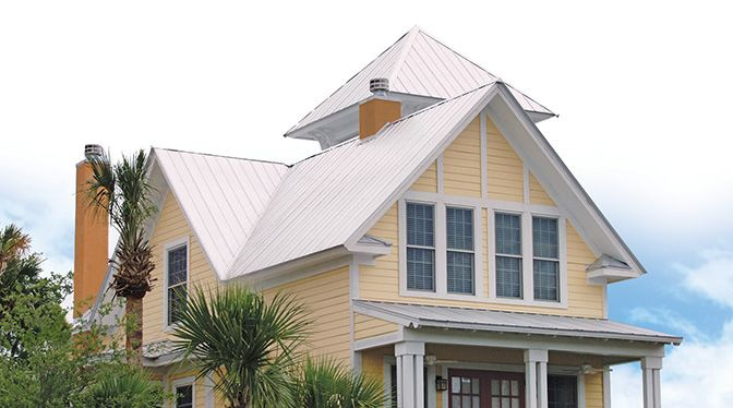 Coastal 5v 5v Metal Roofing Metal Roof Colors Yellow House Exterior Metal Roof