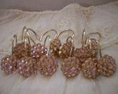 Beautiful Pink Rhinestones Shabby Chic Shower Curtain Hooks Paris Bath