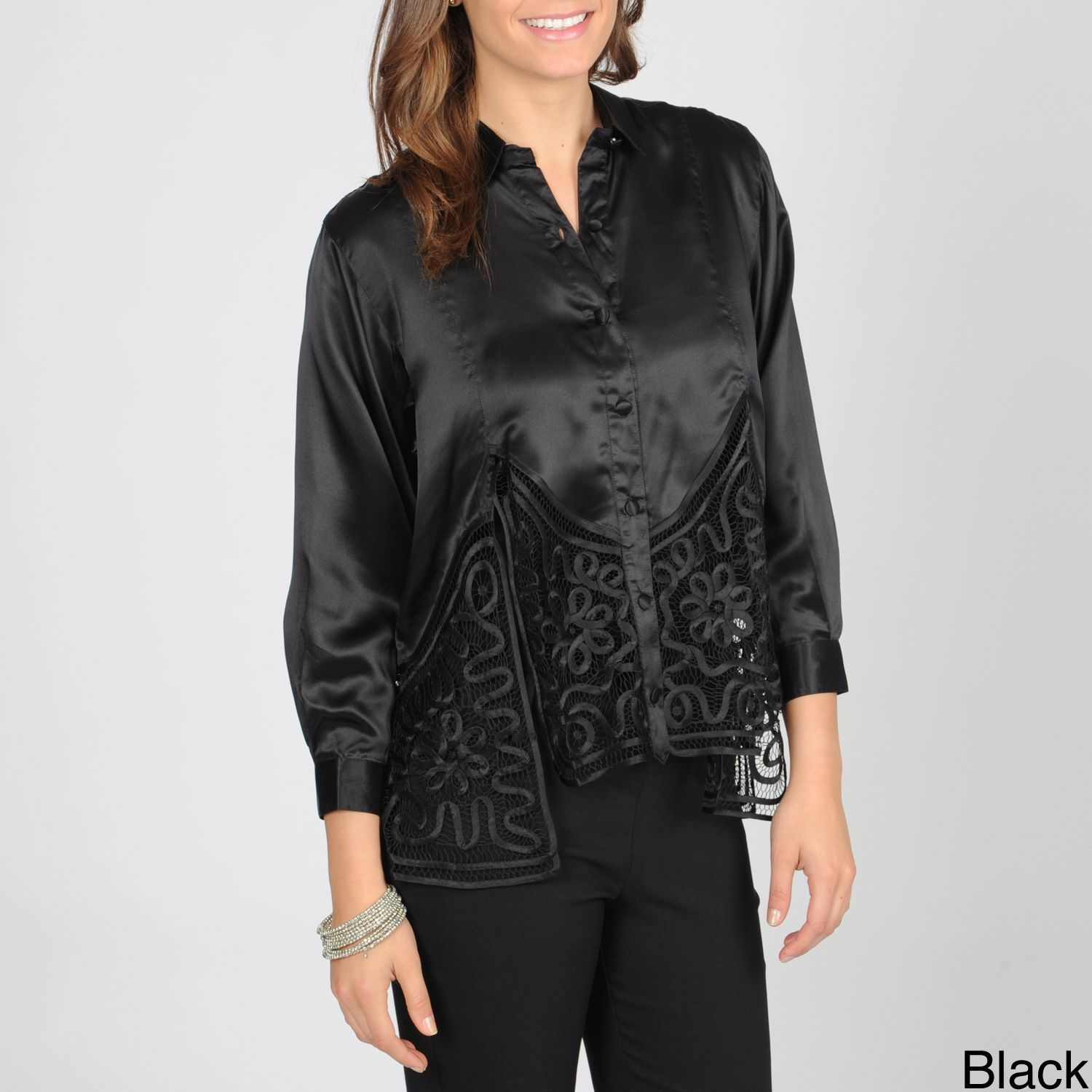 SoulMates Women's Button Down Top with Hand Crafted Detail