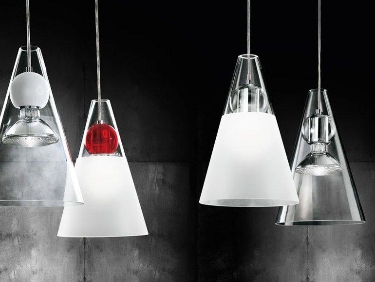 Glass pendant lamp gemma s by de majo illuminazione design
