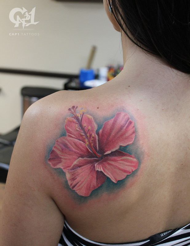 48e6a597e Pink Hibiscus Tattoo | Shoulder Tattoo | @tattoosbycapone. Find this Pin  and more on Capone's Floral Tattoos by Cap1 ...
