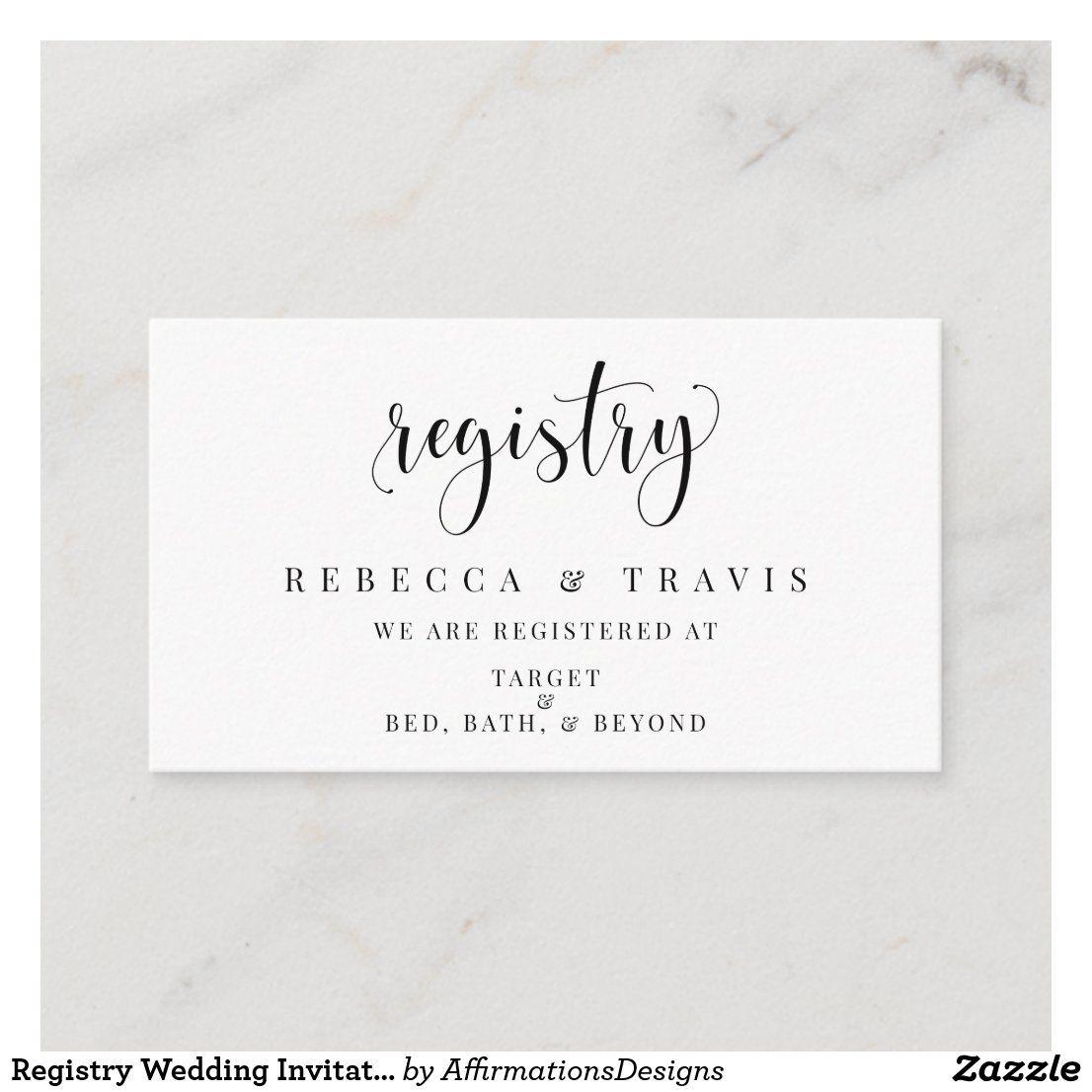 Registry Wedding Invitation Insert Enclosure Card Zazzle Com In 2020 Wedding Invitation Inserts Enclosure Cards Wedding Invitations