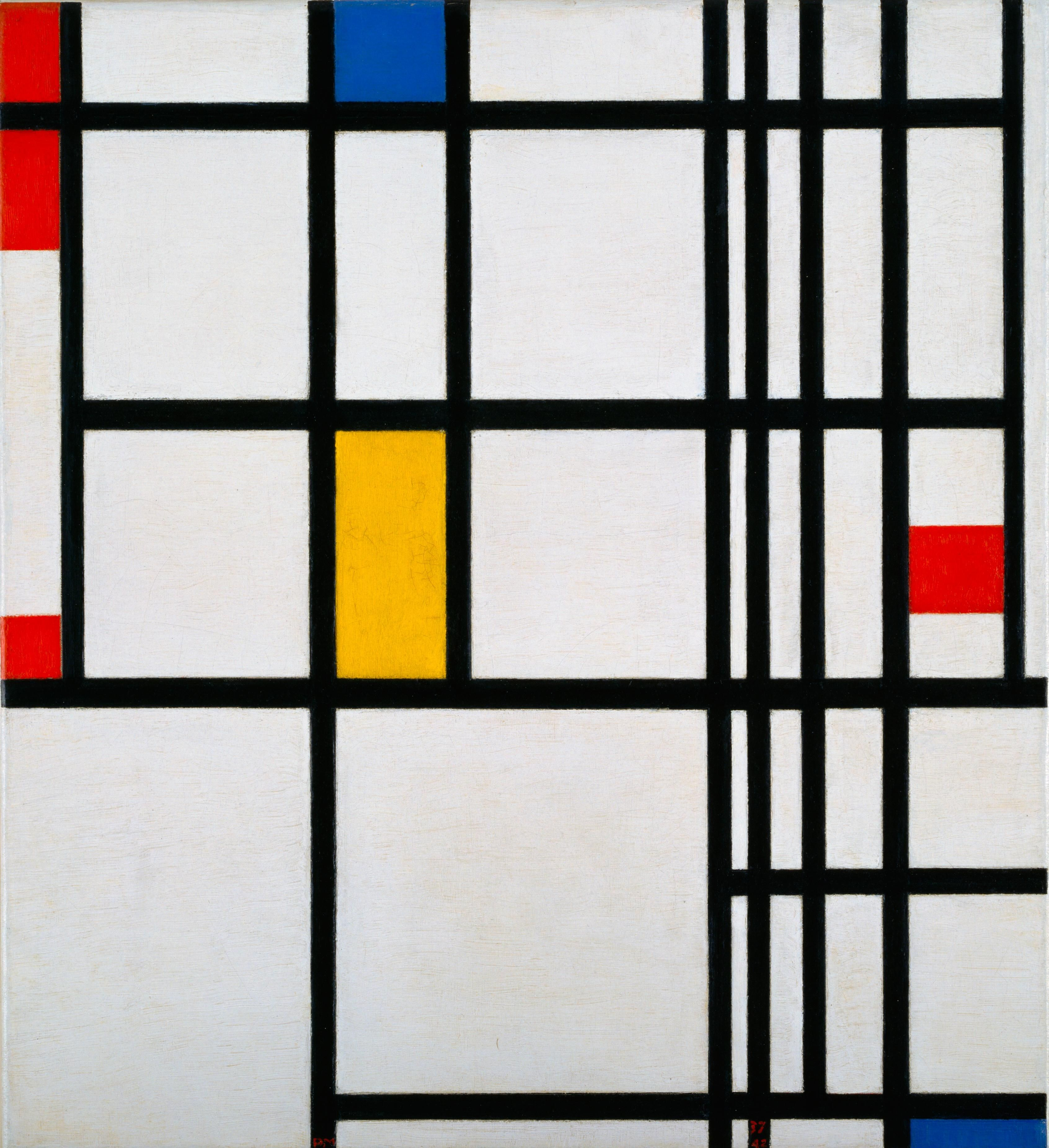 Composition Of Lines In Art : Mondrian composition in red blue and yellow vertical