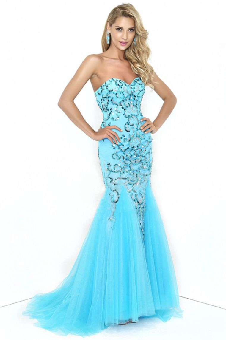 2014 Sweetheart Mermaid Prom Dress Beaded Bodice With Tulle Skirt ...