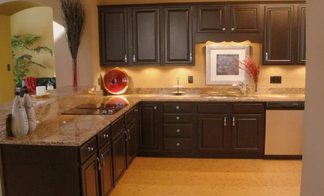 black cabinets with tan counters. | we all gotta eat. | pinterest
