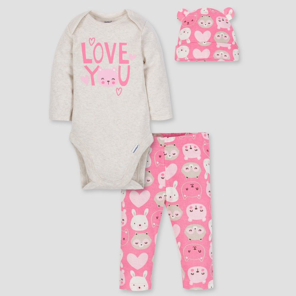 NEW Baby Girls 3 Pc Layette Set 0-3 Months Shirt Pants Hat Outfit Owl Love You
