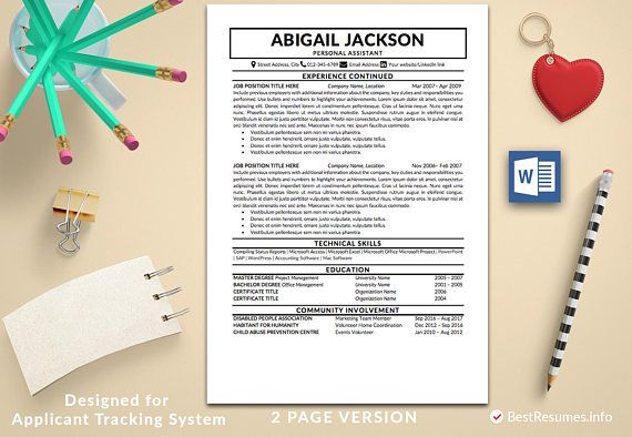 Traditional Resume Template, Clean Resume, Resume Template Word