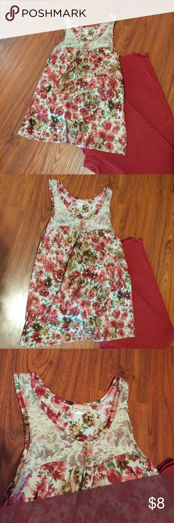 Floral tank with lace accent Super cute cream colored tank with floral print in shades of burgandy, brown, and green. Cream color lace inset with wood button details. Size large. Fashion Magazine Tops Tank Tops