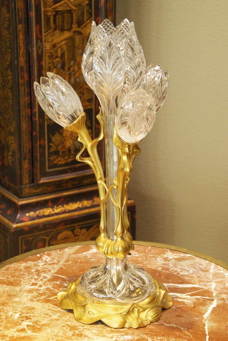 Art Nouveau Crystal And Bronze Flora Form Table Lamp C