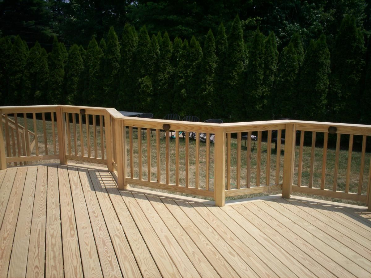 Pressure treated wood deck railing visit more deck railing for Timber decking handrail