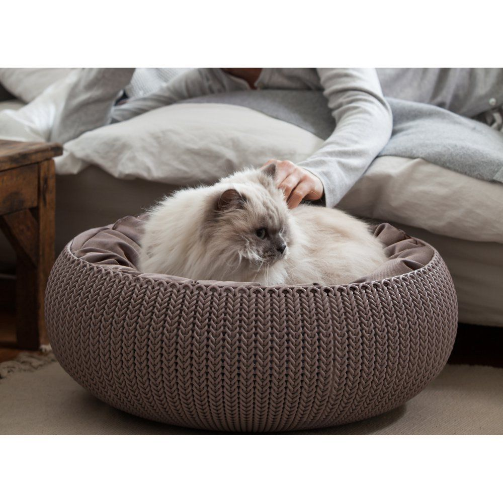 KNIT Cozy Resin Plastic Pet Bed,Dog Bed & Cat Bed with
