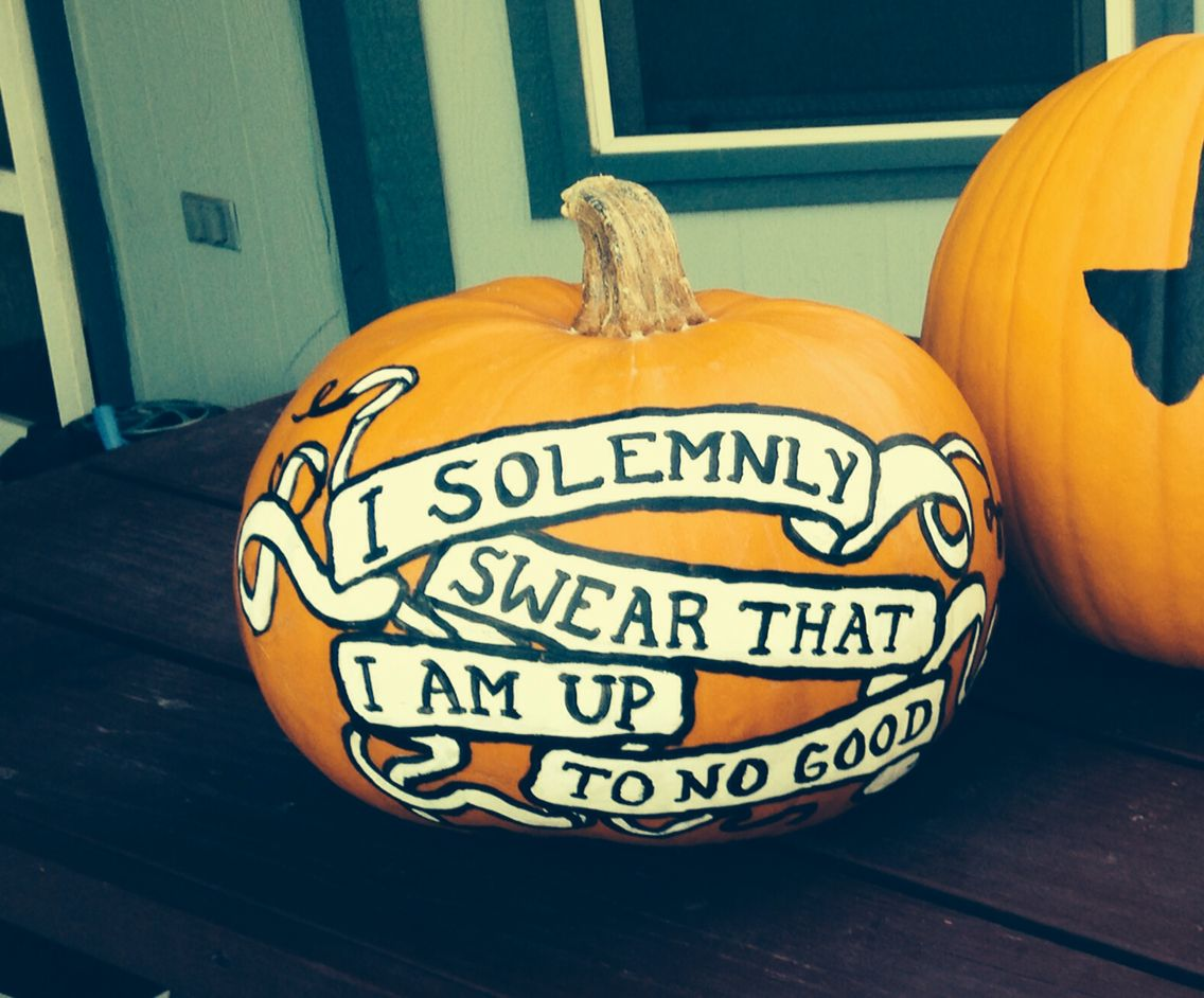 Harry Potter Painted Pumpkin I Solemnly Swear That I Am Up To No Good Harry Potter Pumpkin Carving Harry Potter Halloween Harry Potter Pumpkin