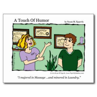 "massage humor ""A Touch of Humor"" Massage / Laundry Comic Mug Postcard"