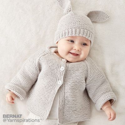 Photo of Easy Rib Baby Jacket knitting instructions
