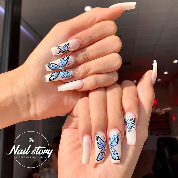 23 Ways To Wear Trendy Butterfly Nails This Spring Stayglam In 2020 Butterfly Nail Butterfly Nail Designs Coffin Nails Designs