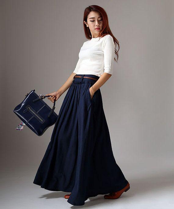Bleu marine jupe plissée classique pleine longueur par xiaolizi ...