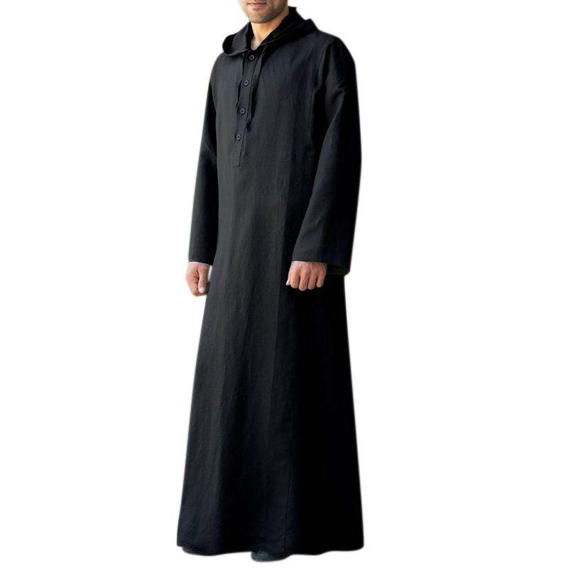 4705681c6914a Tee shirt homme pas cher - TWO-SIDED Caftan vintage ample à capuche robe  longue à manches longues pour homme T-shirt