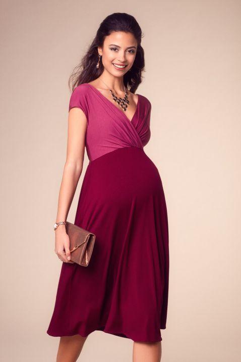 Umstandskleid mit Cache Coeur Ausschnitt berry | Stylish stillen ...