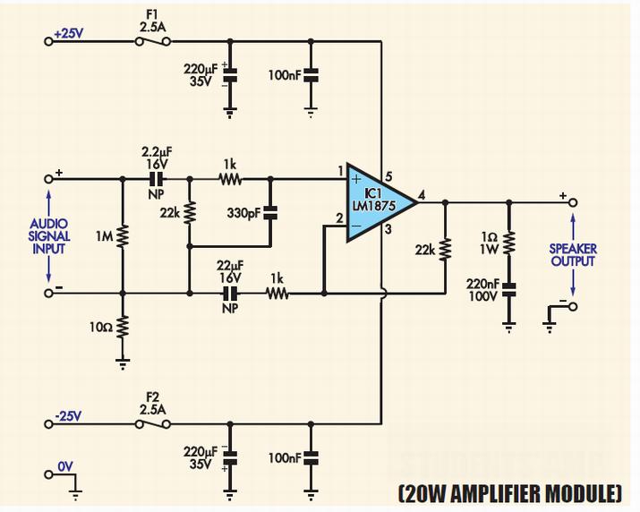 lm1875 audio amplifier 20w www amplifiercircuit info rh pinterest com Cellular RF Signal Amplifier Circuit Project TV Signal Amplifier Circuit Diagram