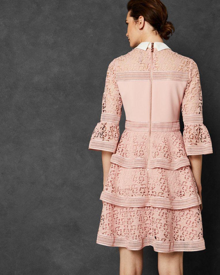 882c6497e584 Star lace ruffle dress - Baby Pink