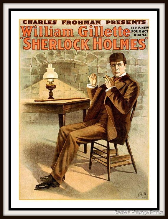 Sherlock Holmes Vintage Playbill Poster Circa 1910 Art Etsy Adventures Of Sherlock Holmes Sherlock Holmes Sherlock