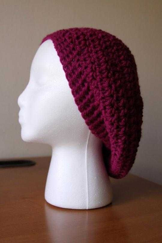 easy crochet slouchy beret...for summer use cotton....for winter use ...