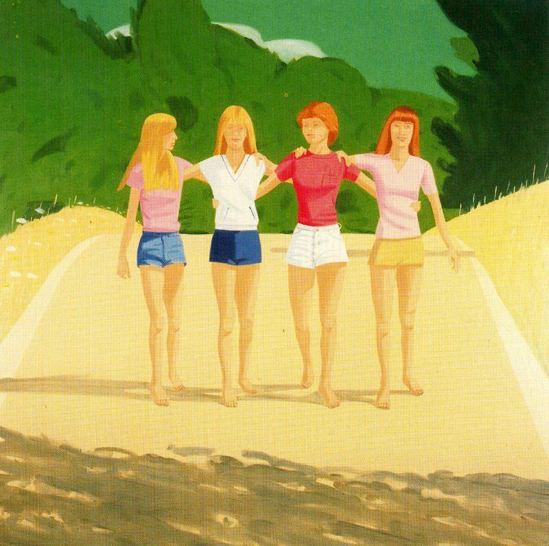 The Ryan Sisters. 1981. Alex Katz (nació en Brooklyn, 24 de 7de 1927), es uno de los precursores del arte pop. Ingresó en 1946 en la Cooper Union School of Art and Architecture.Su obra caracteriza por sus composiciones planas, es conocido por sus siluetas o 'cutouts', retratos pintados sobre madera recortada, que lleva realizando desde los años 60. Su obra esta en el MoMA, el Whitney Museum, el Metropolitan Museum, el Centre Georges Pompidou, la Tate Gallery o el Museo Reina Sofía.