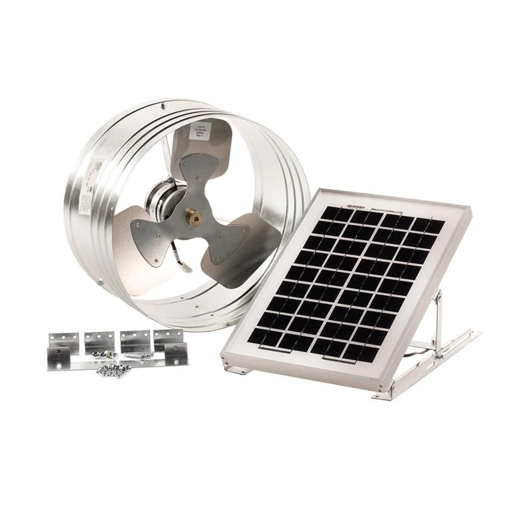 Master Flow 500 Cfm Silver Solar Powered Gable Mount Solar Attic Fan In 2020 Exhaust Fan Solar Attic Fan Solar Powered Attic Fan