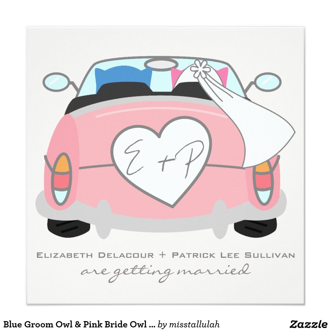 Blue Groom Owl & Pink Bride Owl Wedding Invitation | Creative ...