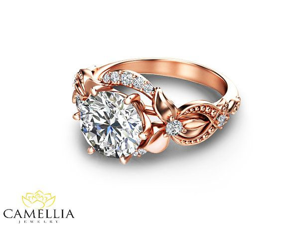 14k Solid Rose Gold Lab Created Diamond Engagement Ring Art Etsy Lab Created Diamond Rings Engagement 14k Rose Gold Engagement Rings Deco Engagement Ring