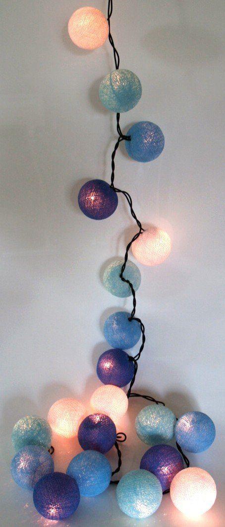 Stoff ball lichterkette blau wei kugel lichterketten for Zimmerdeko lichterkette