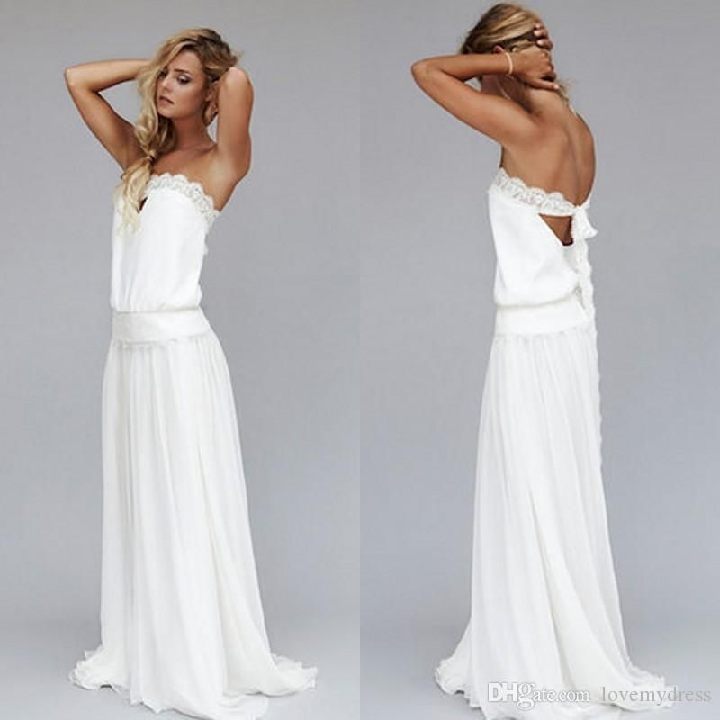 2016 Vintage Beach White Bohemian Wedding Dress Cheap Dropped Waist Strapless Backless Boho Bridal Gowns Lace