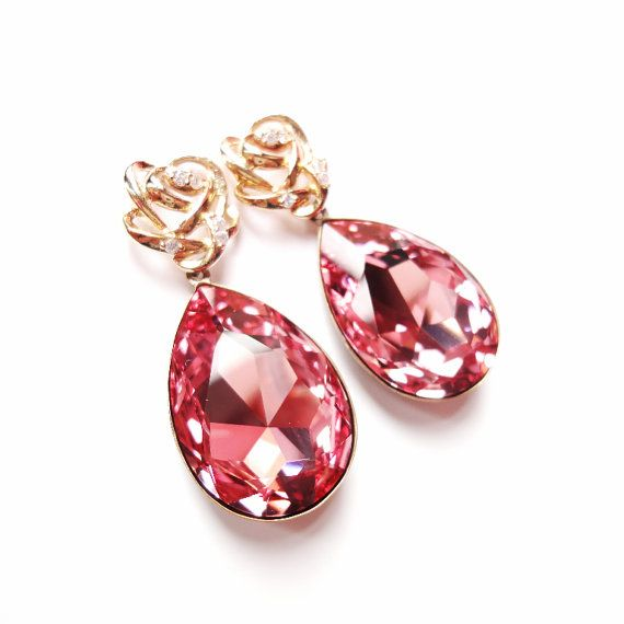 Angelina Jolies Inspired Extra Large Swarovski Crystal Light Rose Pink Earrings with Gold Plated 925 Sterling Silver Posts by ParisOhLaLa, $59.99