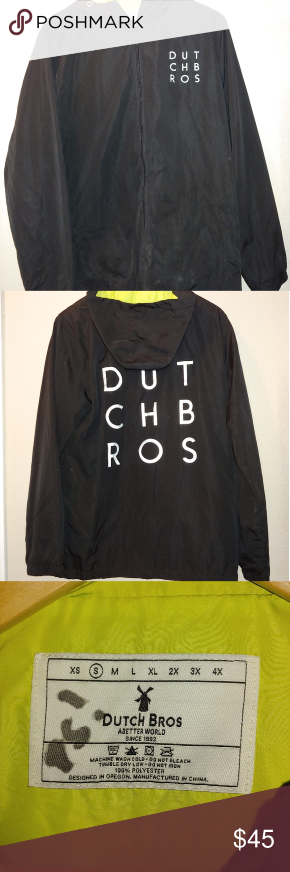 Dutch Bros. Windbreaker Jacket Hood Reflective Pre-owned, good condition. Missing hood drawstring.   Size small Black with reflective logo detail  Measurements while flat Bust 21 Length 28.5   T7-100 Dutch Bros Jackets & Coats Raincoats #dutchbros