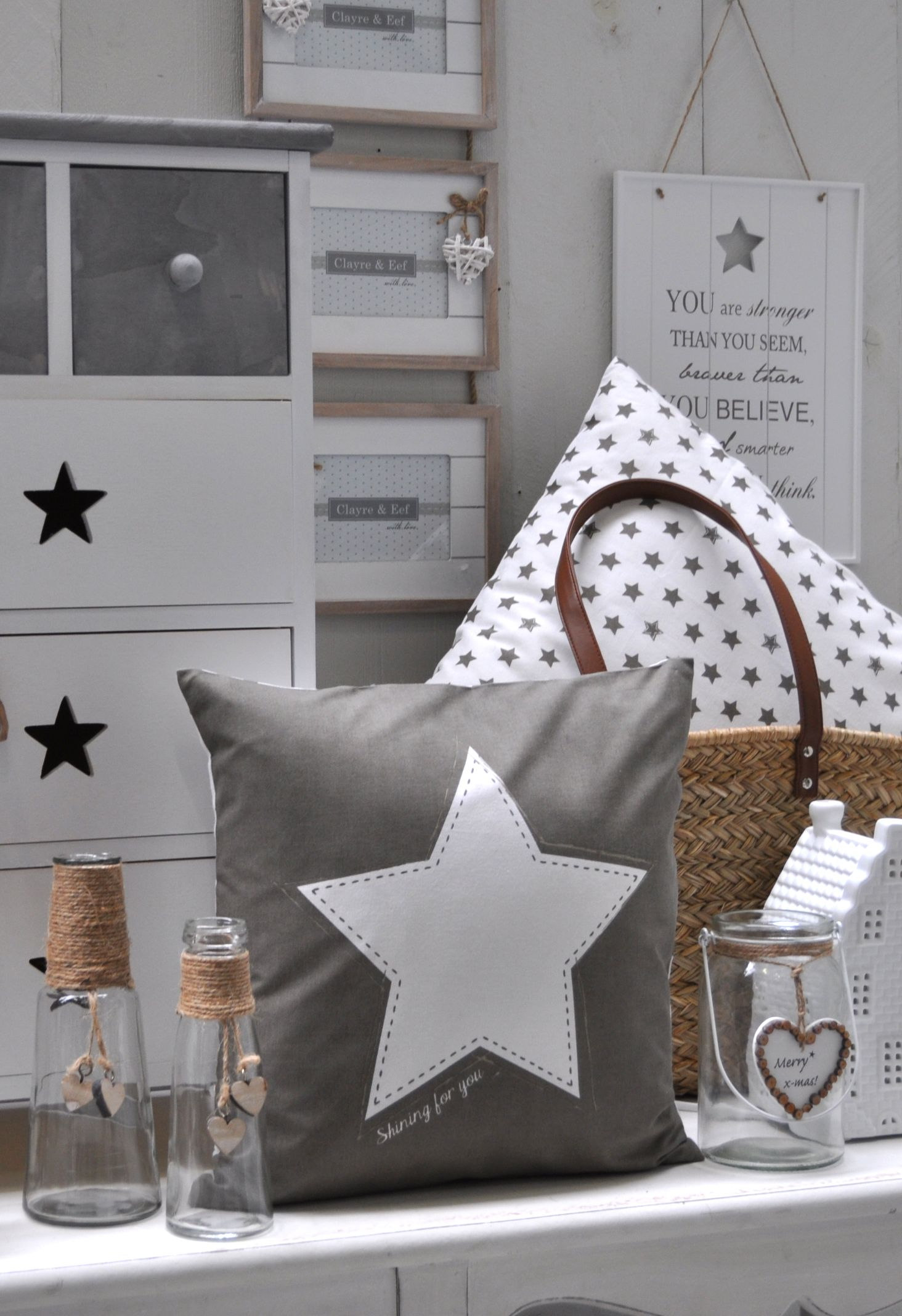 Schlafzimmer Deko Sterne Shining For You Stars Grey Romantic Interior Cushion