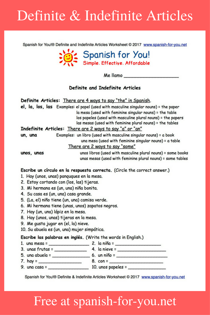 Free Spanish worksheet on definite and indefinite articles Great