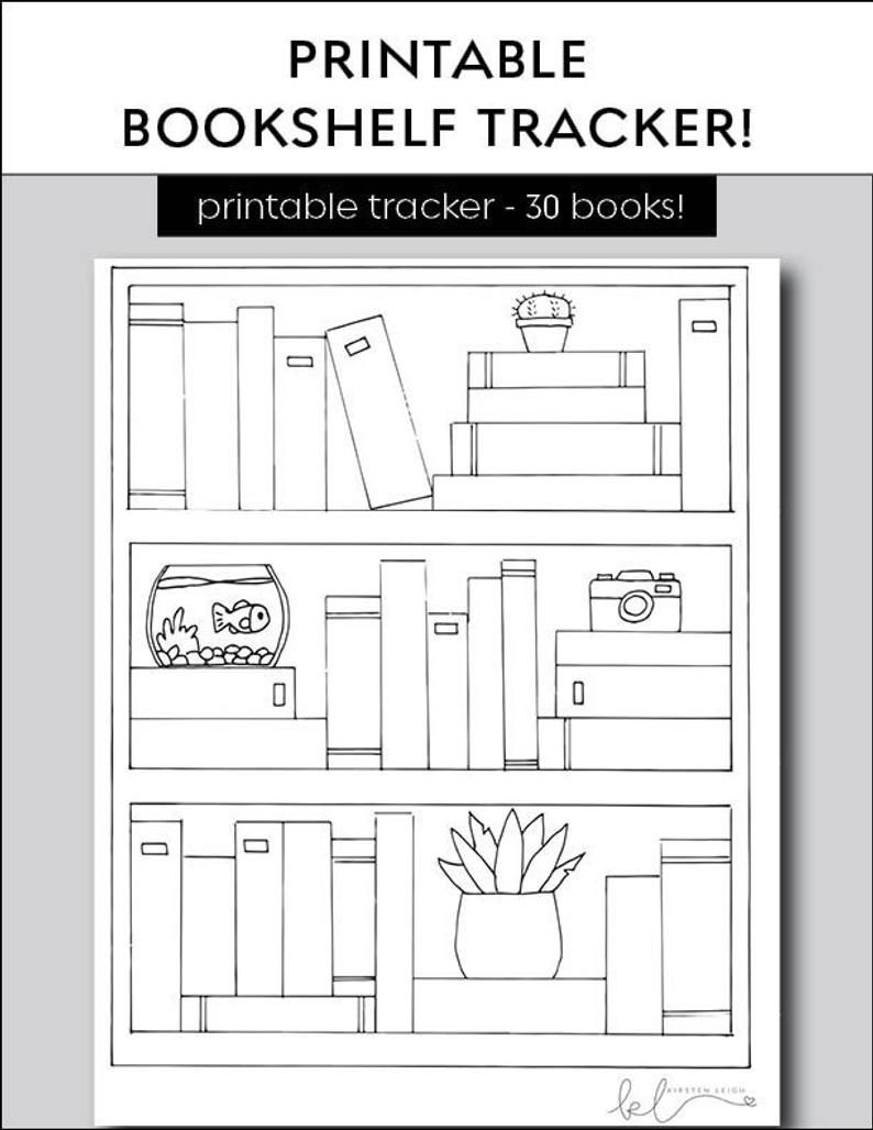 Bookshelf Reading Tracker - Book Goal Printable