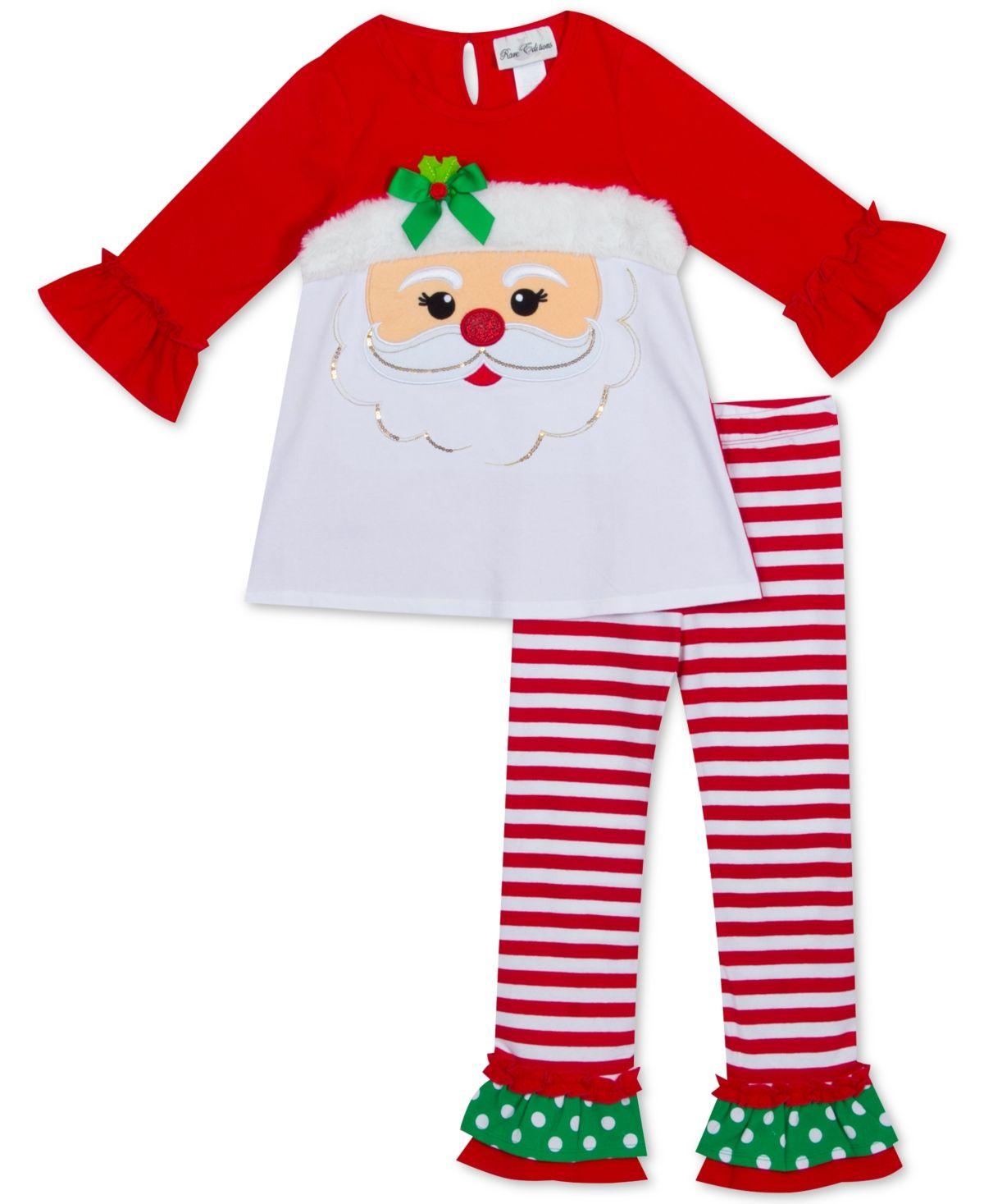 Toddler Girls 2-Pc. Santa Face Top & Striped Leggings Set #stripedleggings
