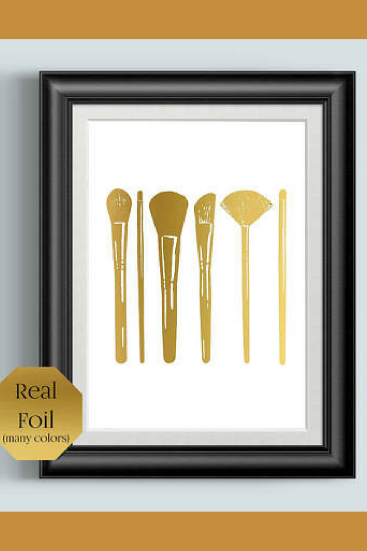 makeup brushes bathroom wall decor rose gold foil print make
