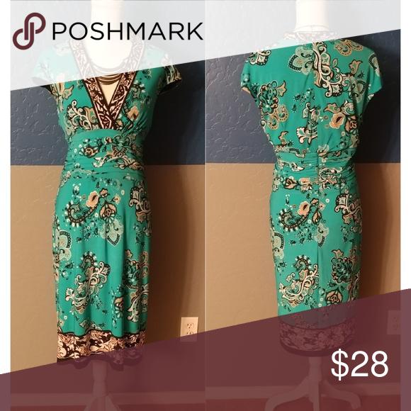 Liz Claiborne Dress Plus Size 14 Polyester Spandex Short Sleeve