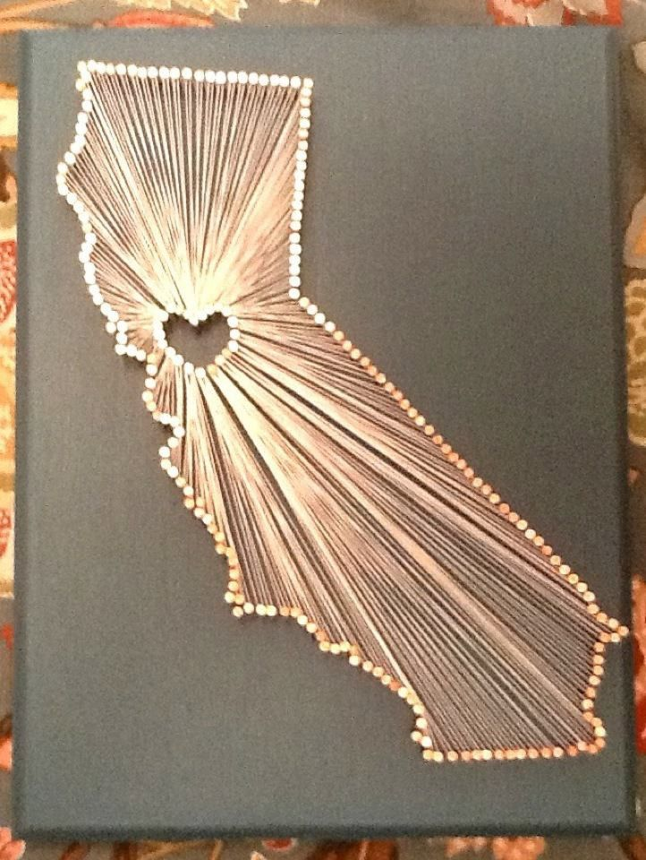 California Love String Art, easy to DIY just trace a map! You can do ...