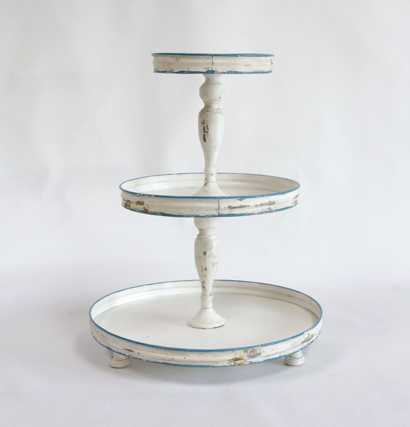 Tin 3 Tier Stand Distressed Antique White Amp Blue Home Spa Decor Tiered Stand Antique Farmhouse