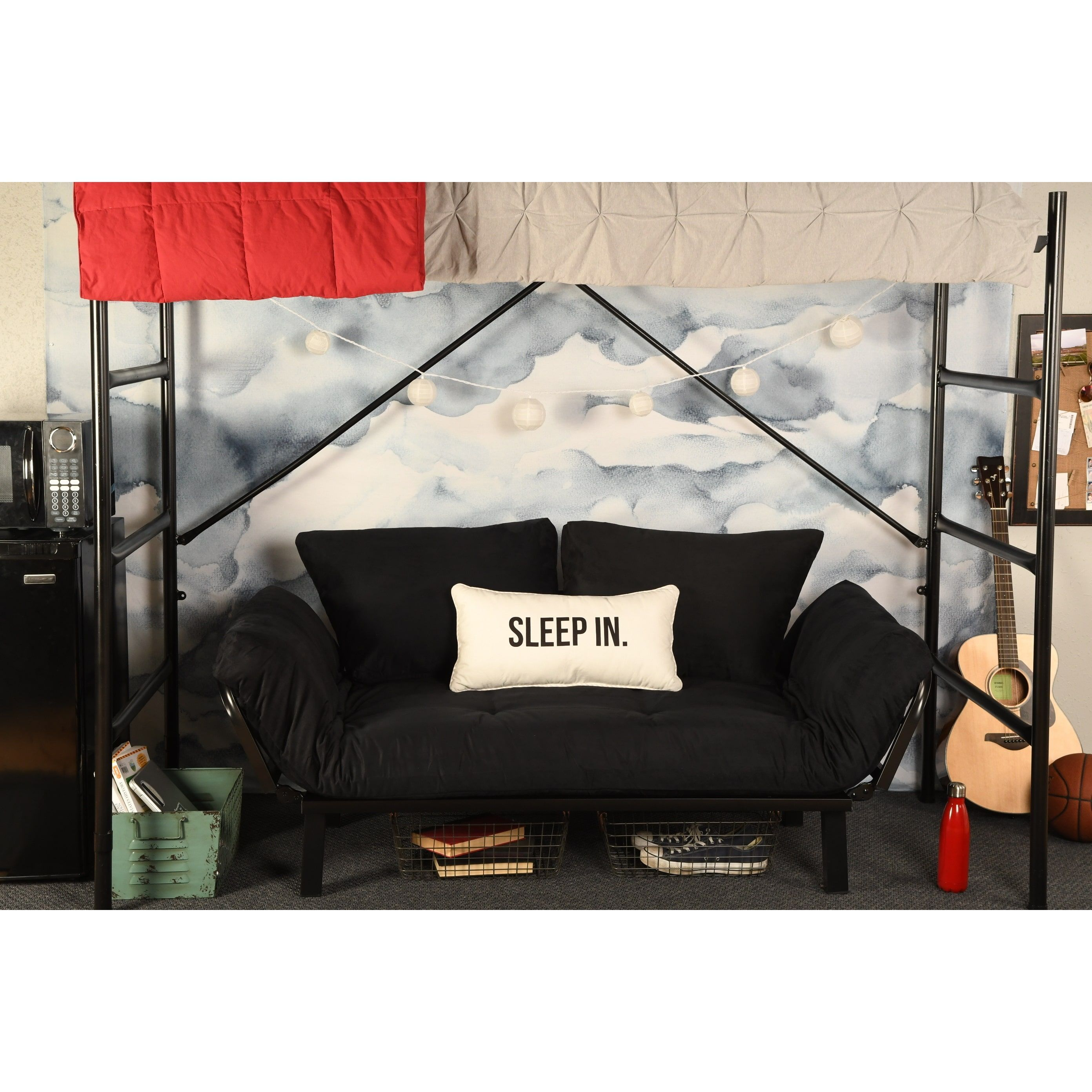 Somette Dorm Dreamer Futon With Black Metal Finish Green Size Twin