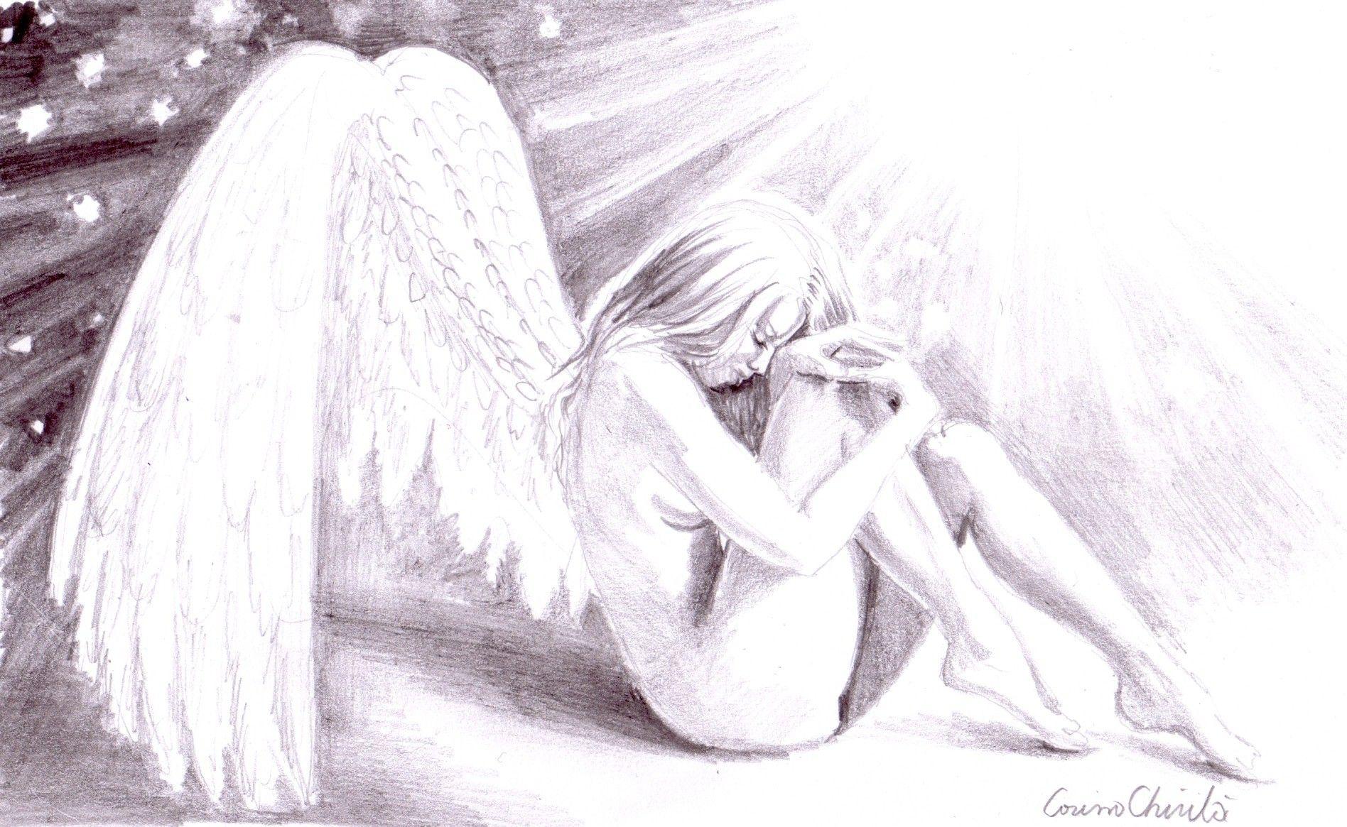 anime pencil drawings sad lonely broken angel pencil drawing